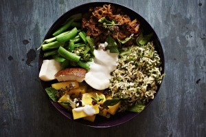 Soy and chilli pulled pork, coconut brown rice, pickled pineapple and greens grain (or buddha) bowl