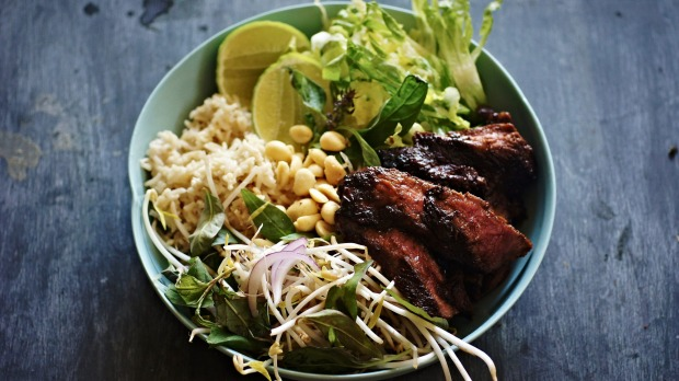 Black pepper and kaffir lime beef bowl with coconut rice and salad recipe. Grain bowl recipes for Good Food online February 2018. Please credit Katrina Meynink.