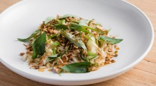 Steamed chicken with pickled green chilli dressing, cabbage, Vietnamese mint and peanuts.