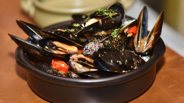 Mussels with tomato, chilli and garlic at Opa Greek Meze Bar.