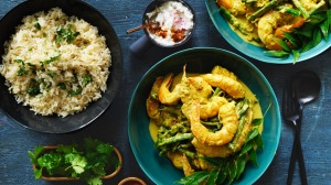 Any seafood rocks in the curry but the flavours also work well with chicken.