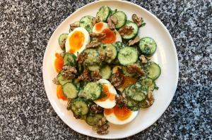 Attica owner-chef Ben Shewry's lunch salad recipe with cucumber, soft-boiled egg and walnuts.
