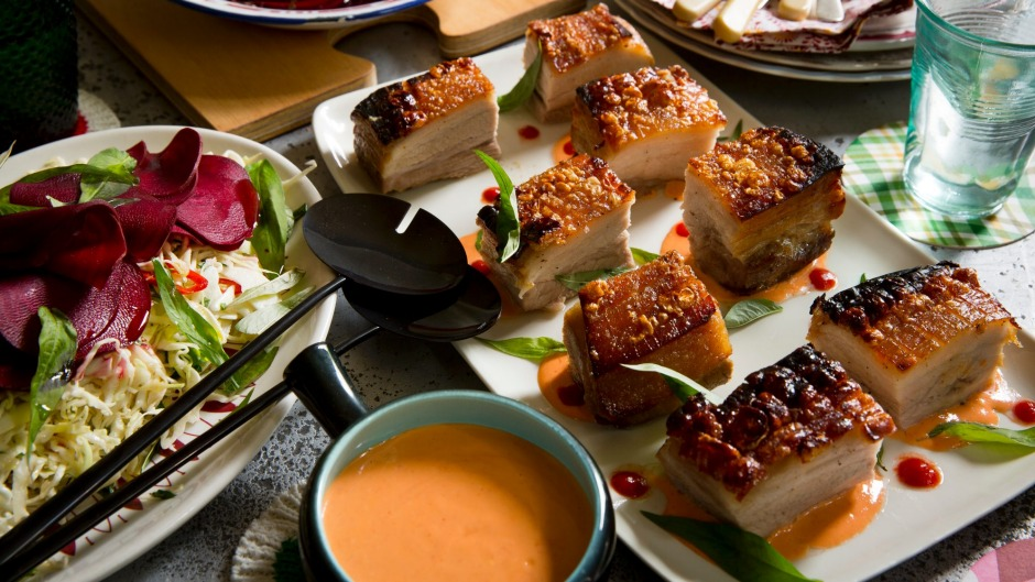 Star anise roasted pork belly with spicy Sriracha mayo.