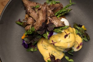 Eggs benedict with lamb.