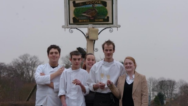 A young Duncan Welgemoed, far left, with workmates at the Goose in Britwell Salome.