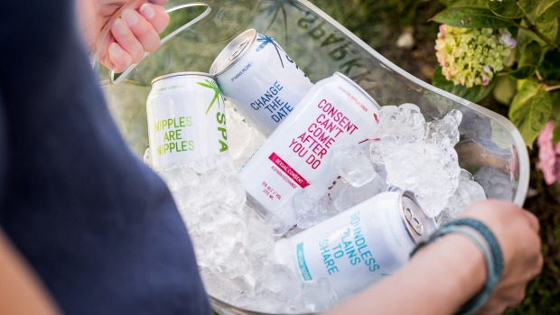 The can's labels are intended to spark conversation.