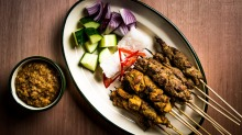 Chicken and beef satay with cucumber, onion, rice cakes and satay sauce at Chanteen.