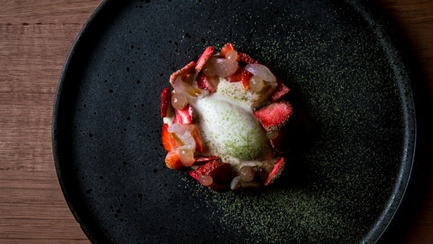 KOI's earl grey cremeux with strawberry white chocolate, yuzu, yogurt sorbet, lychee and mint.