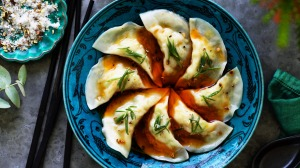Kylie Kwong's crab dumplings with chilli oil and Sichuan pepper and salt.