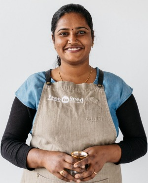 Charu says working as a cooking teacher at social enterprise Free to Feed has improved her English and her skills.