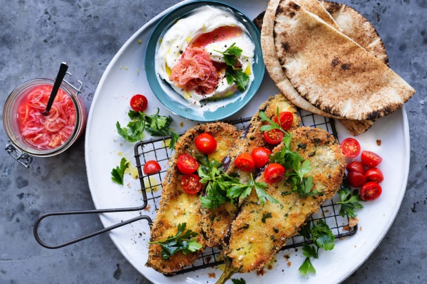 19. Jill Dupleix's eggplant schnitzel with labna, pita and pickled leeks <a ...