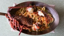 House-made tagliolini with lobster.