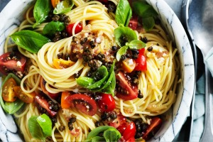 Adam Liaw's summer tomato and caper pasta recipe.