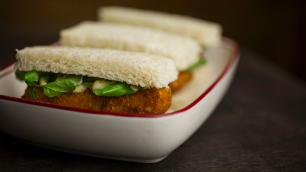 Classic British comfort food: fish Finger sandwiches.