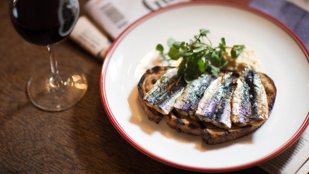 Sardines on toast at The Duke of Clarence, Sydney.