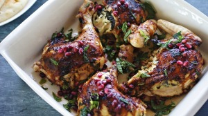 Butterflied roast chicken with herb and haloumi stuffing.