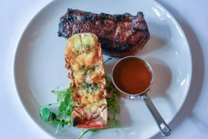 Surf 'n' turf: steak with lobster tail.