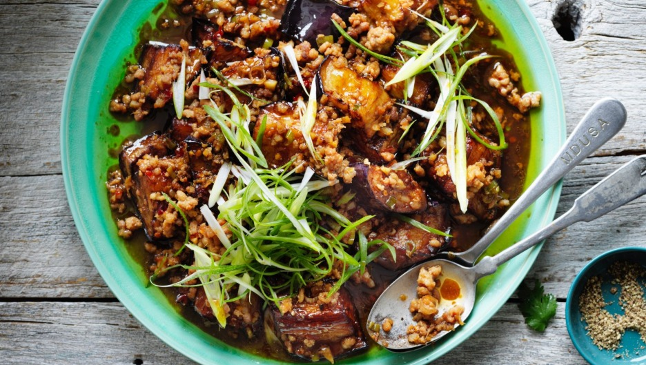 Stir-fried pork and eggplant.
