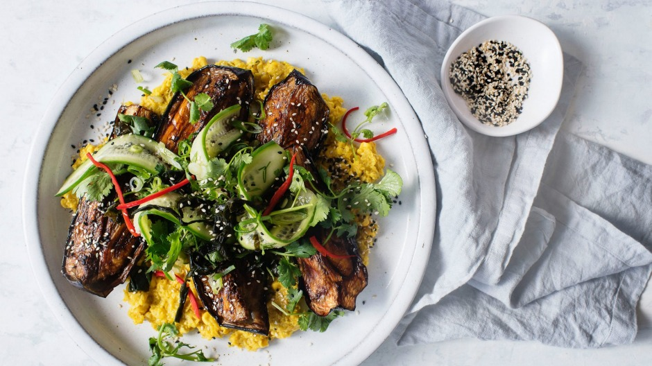 Sweet and creamy corn puree with sticky teriyaki-glazed eggplant.