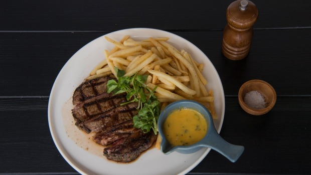 Go-to dish: Grain-fed scotch fillet with shoestring fries, bearnaise and red wine jus.