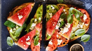 Summer snack: Watermelon and tomato bruschetta.
