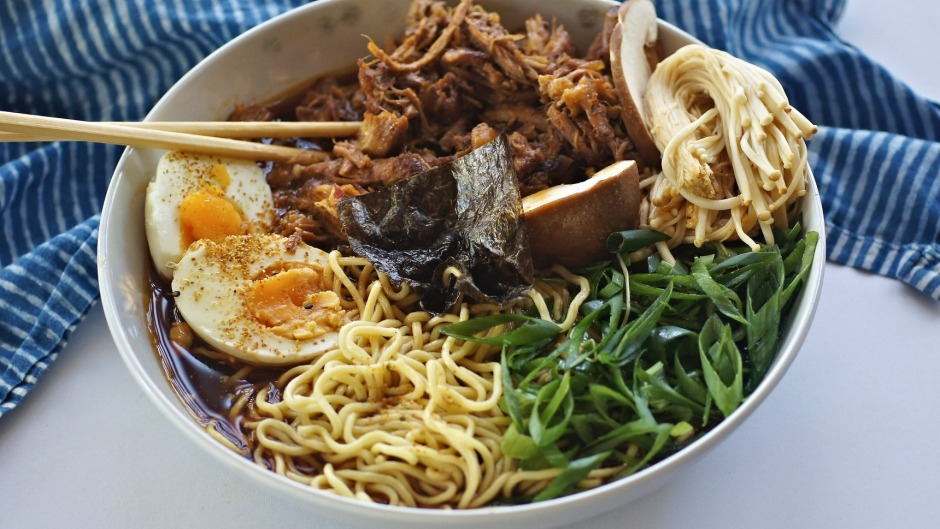Less-cloudy ramen with roasted, pulled pork.