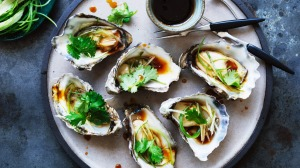 Cantonese flavour combo: Steamed oysters with ginger, spring onion and coriander.