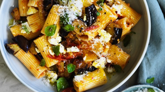 Danielle Alvarez's rigatoni with smoky eggplant, tomato and oregano.