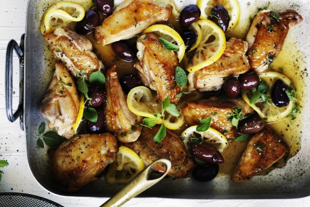 Serve this braised chicken with lemon and olives with a side of polenta or rice <a ...