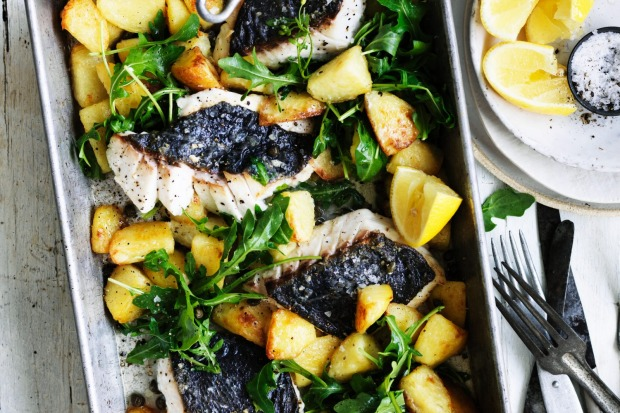 Adam Liaw's roast hapuka with crispy potatoes and capers <a ...