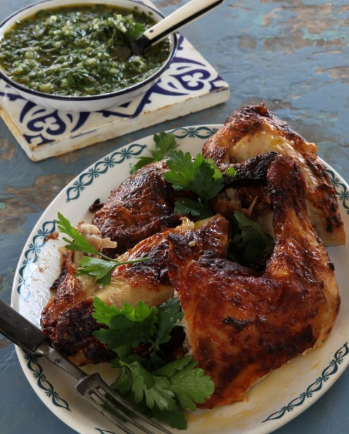 BBQ chicken with chimichurri sauce <a ...