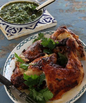 BBQ chicken with chimichurri sauce.