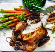 Classic roast chicken with buttered vegetables
