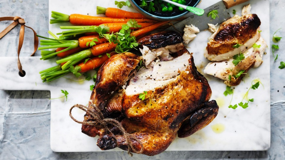 Back to basics: Classic roast chicken with buttered vegetables (recipe below).
