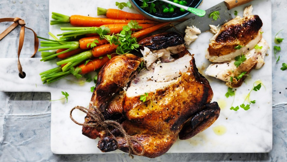 Adam Liaw's perfect roast chicken with buttered vegetables (cooked separately!).