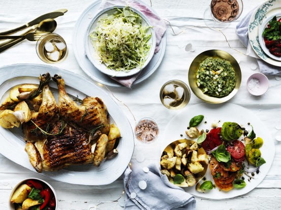 Neil Perry's barbecued chicken with salsa verde; serve with crispy potatoes and a simple 'slaw <a ...