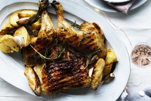 Serve the chicken with salsa (top right), crispy potatoes and a simple 'slaw.