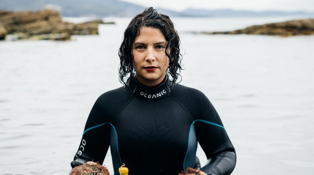 Analiese Gregory, head chef of Franklin in Hobart, diving for abalone.