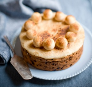 Simnel cake, a traditional English Easter cake, from Phillippa's, Melbourne.