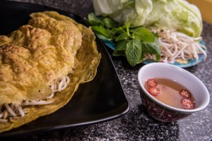 Pho Pasteur's banh xeo – Vietnamese crispy pancakes with mint, sprouts and lettuce.