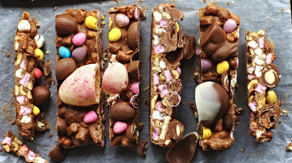 This colourful rocky road is also a great way to use up leftover Easter choccies.