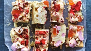 Delightful: White chocolate rocky road dotted with petals and pink peppercorns.