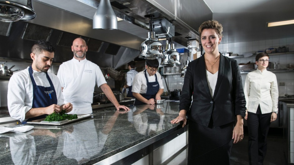 Anna Pavoni (second from right) in the Ormeggio at the Spit kitchen in Sydney.