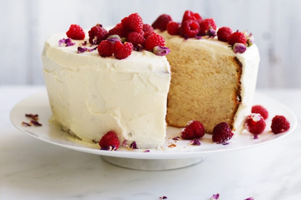 Helen Goh's showstopping lemon and rose petal chiffon cake with white chocolate cream icing and raspberries <a ...