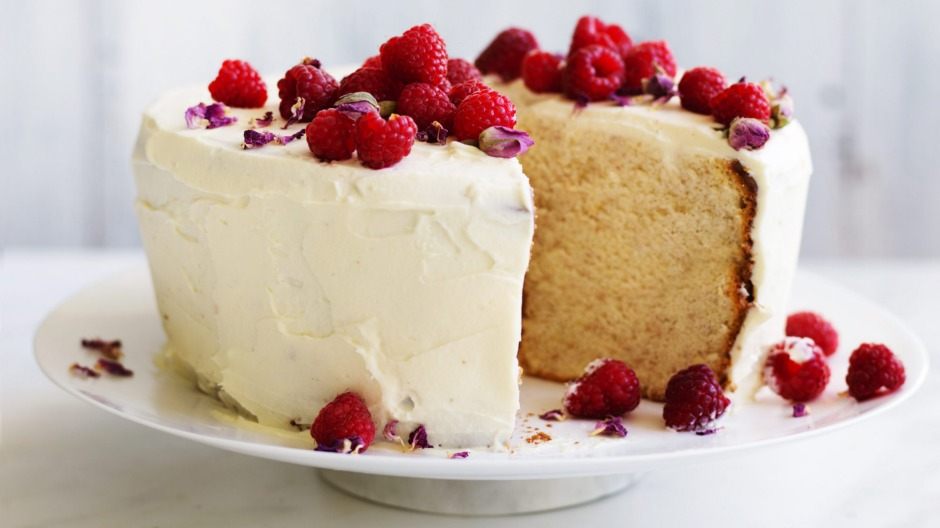 Lemon And Rose Chiffon Cake With White Chocolate Cream