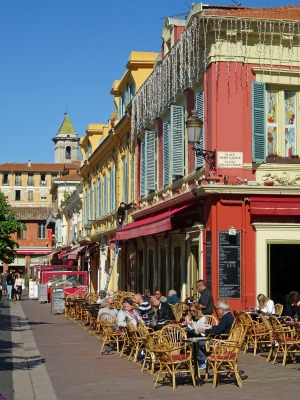 A cafe on the Cours Saleya in Nice.