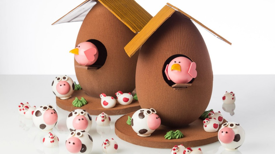 Burch & Purchese's Coop de Ville chocolate egg coop complete with roof, chicken and frolicking playmates, $280.