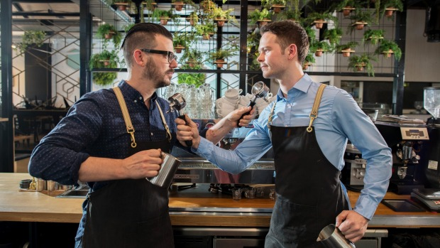 Latte-day saints … Australia's best barista Craig Simon (left) and runner-up Anthony Douglas.