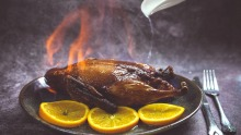 Flaming duck stuffed with sticky rice at Shanghai Street.
