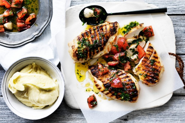 Neil Perry's barbecued chicken breast with sauce vierge and potato puree <a ...